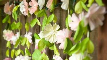 Paper wedding crafts by lia griffith creativebug paper wedding crafts make a flower garland backdrop mightylinksfo